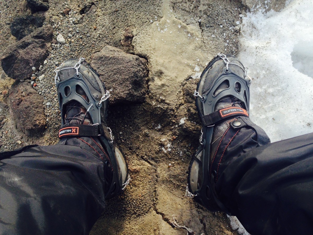 HillSound shoe spikes on Columbia boots with Mountain Hardwear gaiters.