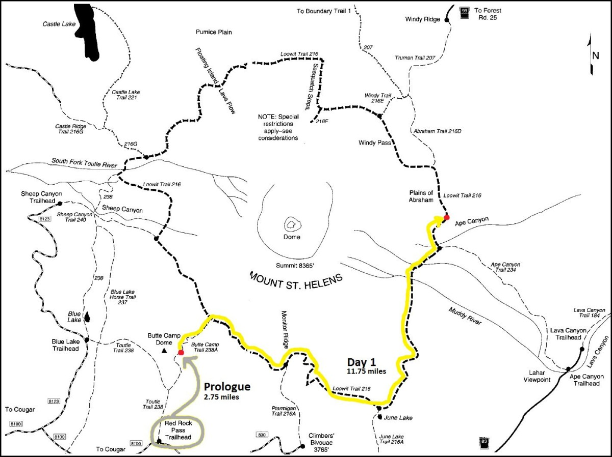Day 1 - Loowit Trail Map