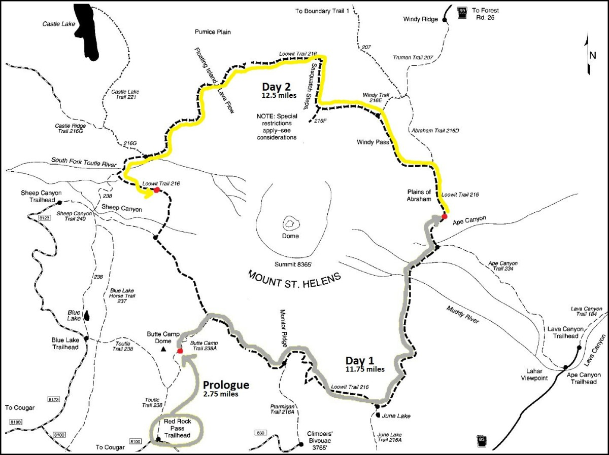 Day 2 - Loowit Trail Map