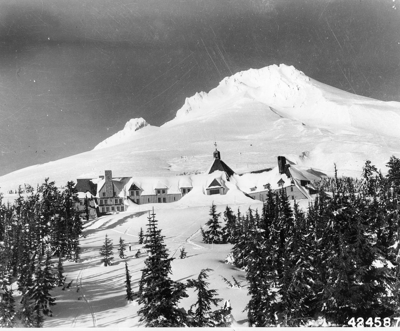 Mt Hood and Timberline Lodge, circa 1943.