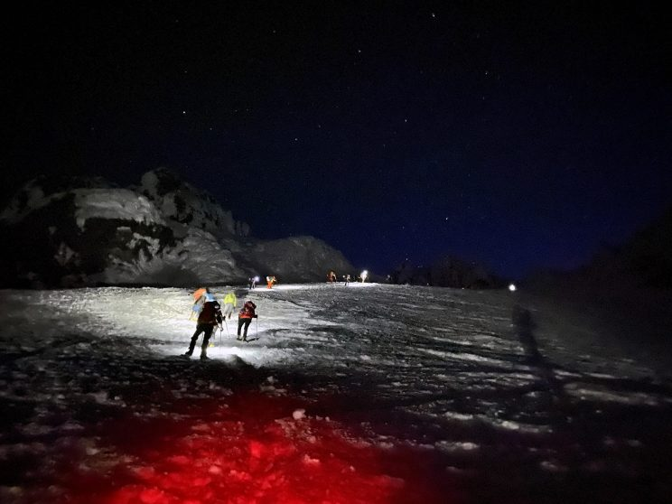 Mt Hood - Climbers with hand lamps