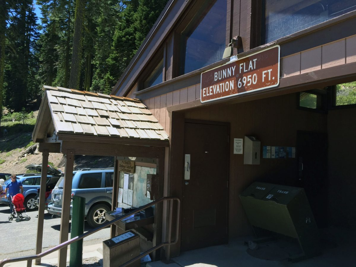 Bunny Flat trailhead check-in, bathrooms, waste disposal building - June 2016.