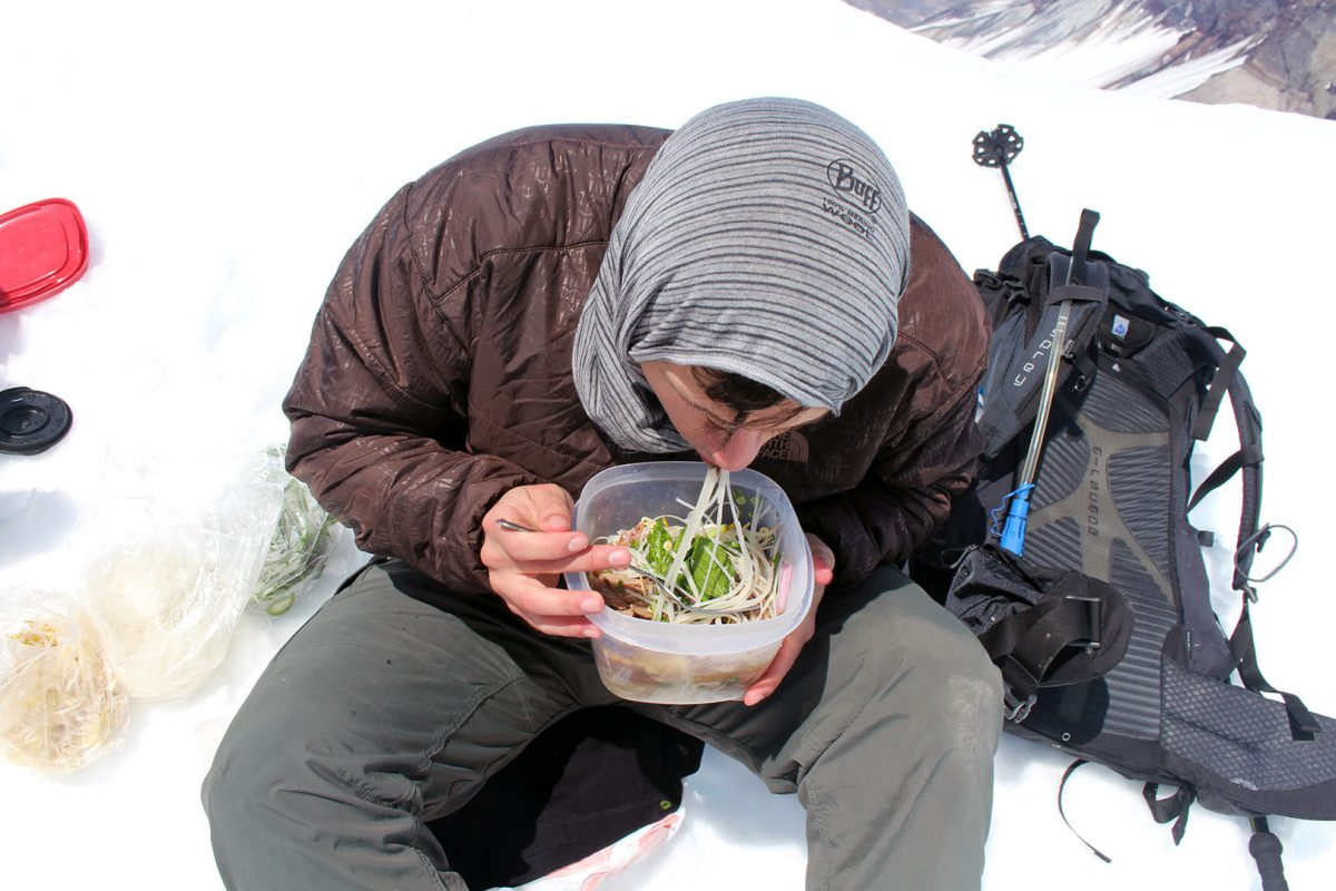 Eating pho at the summit - Mt. St. Helens - May 2017