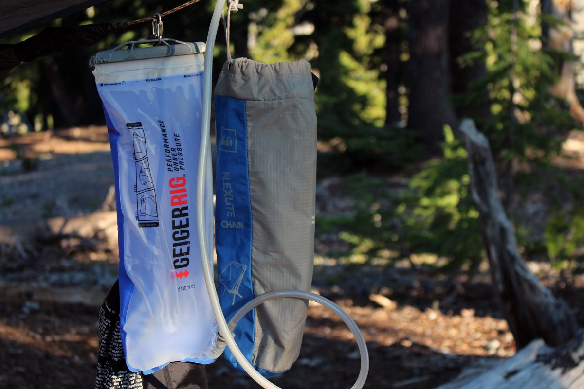 GeigerRig 3L hydration bladder and REI Flexlite chair - Moraine Lake - July 2018