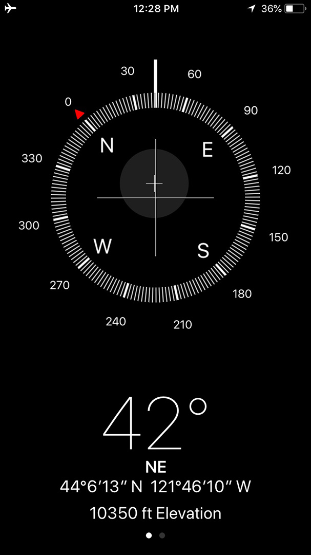 iOS Compass app - July 2018