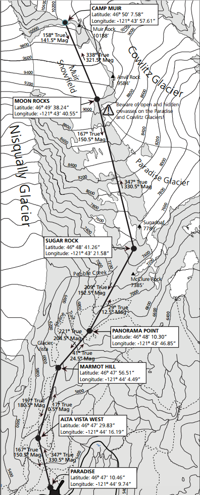 Camp Muir Trail Map